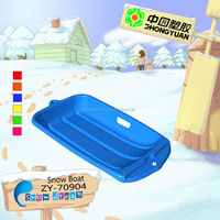 New Green plastic mini baby snow luge in outdoor