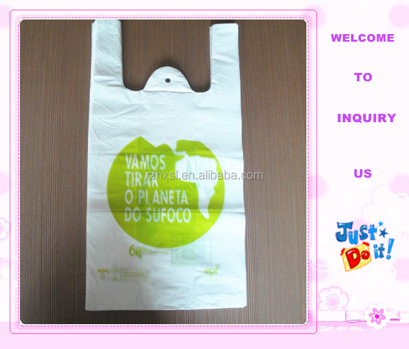 HDPE plastic t-shirt shopping bag with custom logo
