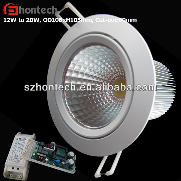 DMX512 dimmable cob with 90mm cut out led downlight 18w