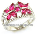 Created Ruby 925 Sterling Silver women's Ring Hong Kong jewelry Wholesale