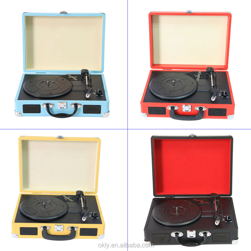 2016 Hottest Portable suitcase turntable /suitcase turntable record player with USB Recording