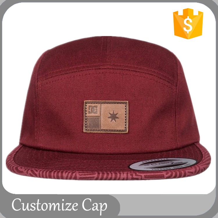 Good Quality 5 Panels Cap Embroidery Snapback Hat Maroon Ribbon Back Closure With Leather Patch