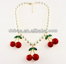 Fashion Big Red Cherry Pearl Chain Crystal Choker Bib Statement Necklace