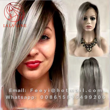 Brazilian grey full lace human hair wigs wavy silver gray glueless front lace wigs 180% density with comb and straps gray wig