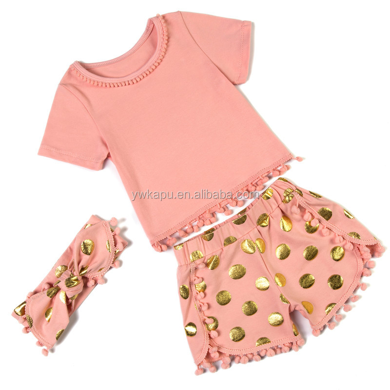 Wholesale Children s Boutique Clothing Baby Pompom Romper
