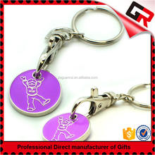 Nice Looking special cheap metal wholesale trolley coin keyring