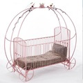 New Design Fairyale European Style Cinderella Pink Baby Crib Forged Iron Hand Made Horse Pumpkin Carriage Crib BF08-K004