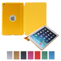 New Arrival Show Logo Hole PU leather smart flip cover case soft and hard case for iPad mini