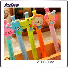 2015 Cute little animal soft silicone cartoon ball-point pen gift boxes kids gift pen