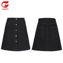 fashion simple black A line jeans skirt denim short skirt