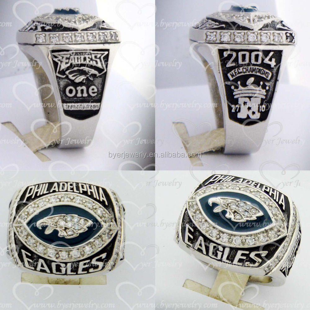 Jewelry Manufacturer White Gold Philadelphia Eagles 2004 N.F.C. Championship Ring Replica