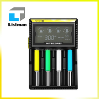 Hottest Intellicharger 4 slot Nitecore D4 Li-Ion battery charger Nitecore d4 Micro USB 18650 Battery Charger