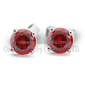 High quality silver jewelry red cz inlaid women jewelry custom wedding earring silver studs
