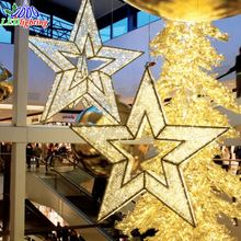 Indoor clear decorative lighted hanging metal led christmas stars
