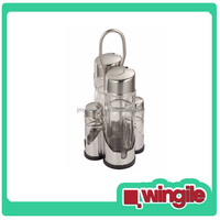 4 Glass Bottles oil vinegar cruet set salt and pepper cruet with Stainless Steel Holder
