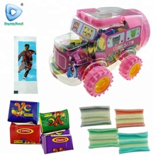 Cartoon school bus jar bubble gum with tattoo