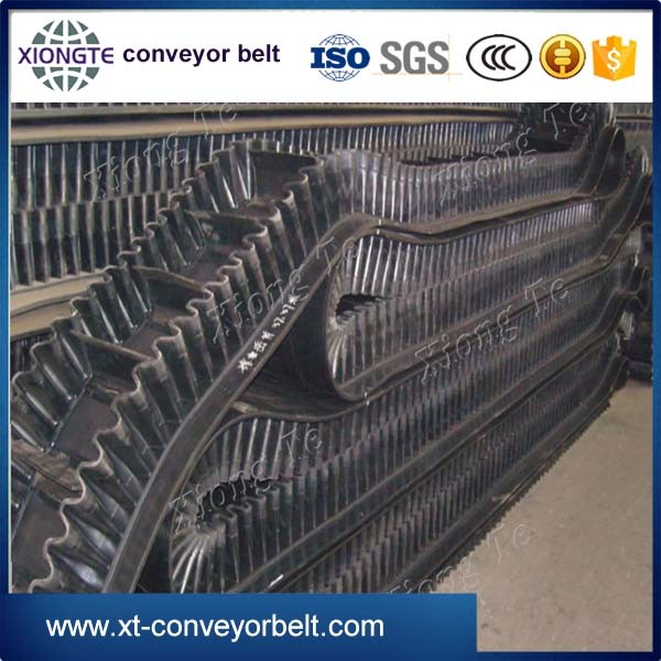 90 degree curve conveyor resisitant rubber sidewall belting