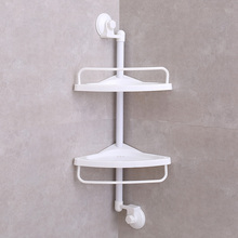 Suction Cup Wall Mounted Plastic Shower Magic Corner Shelf