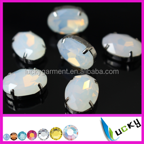 Wholesale rhinestones sew on pointed back crystal beads blue opal for jewelry making supplies