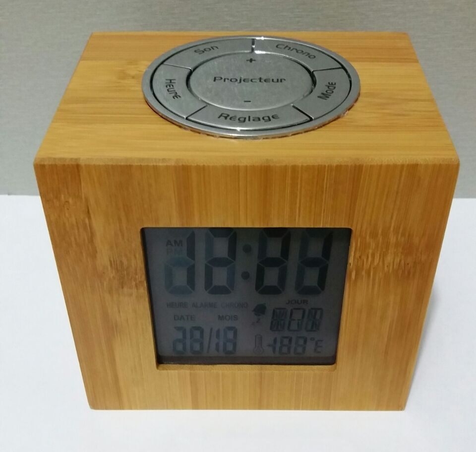 Nature sounds bamboo digital clock with back light