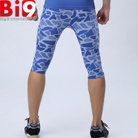 High-Tech Blue/Dark Camo Compression Soft Tight Model Workout Tight 3/4 Knickers Pants Trousers Basic Wear For Gym Fitness