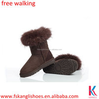 Italian style chocolate fur winter boots for women