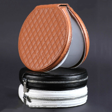 2017 New Blank Round CD DVD Bag with Zipper, Personalized PU Leather CD DVD Carrying Case Holder