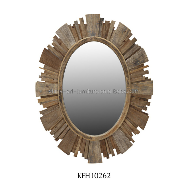 Mosic wood frame mirror oval shape for bathroom living room Antique style