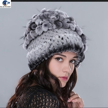 Luxurious China supplier real rex rabbit fur winter Russian style knitted hat with grape cluster on top