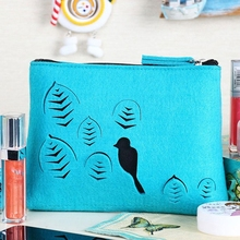 Chinese Suppler Special Design Felt Travel makeup Cosmetic Bag For Ladies