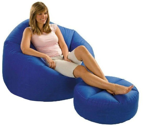 soft bean bag lazy inflatable air sofa with footrest