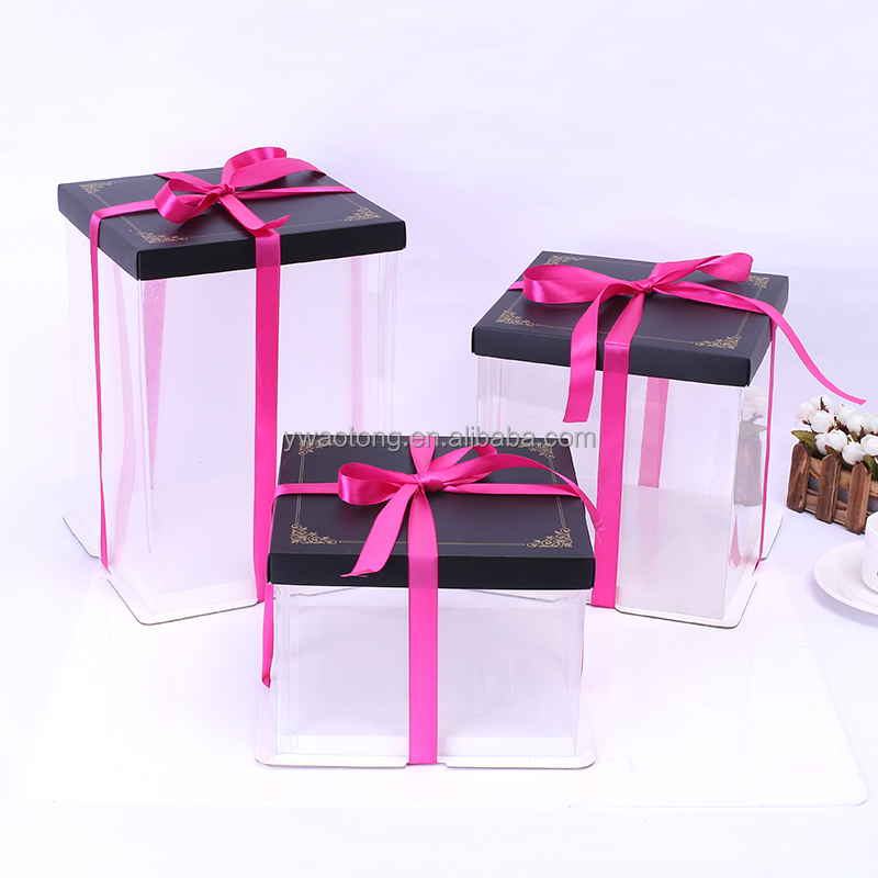 Good quality food grade PET clear plastic wedding cake box with ribbon