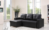 Cheap Contemporary Sofa Hidden Bed Leather Black