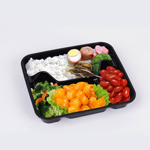 Disposable Plastic 4 Compartment Food Thermal Lunch Container Box