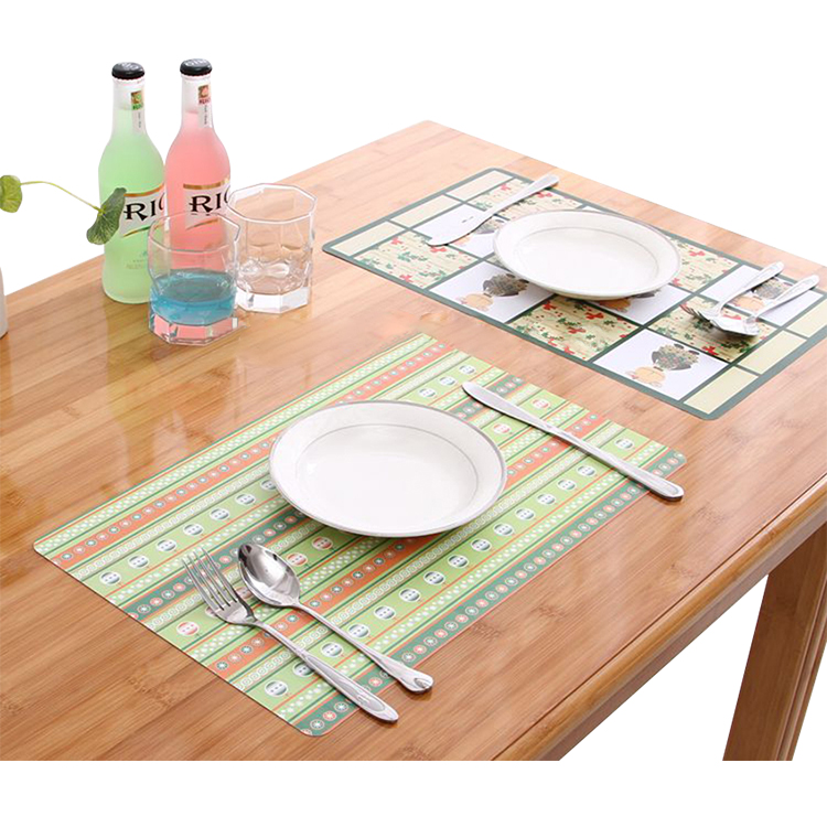 2018 Factory Price Custom Color Printing PP Table Mat, Recycled Wholesale Plastic Dining Placemat