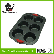 silicone handles muffin tray 6 cup muffin mold muffin pan(BK-D5026)
