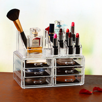 Clear Acrylic Makeup cosmetic Storage Organizer Display Box with 6 Drawers