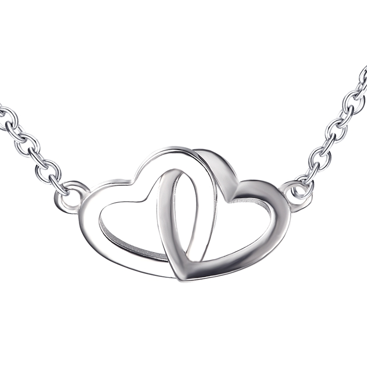 Double heart pendant necklace sterling silver <strong>jewelry</strong>