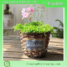 Small round Garden flower pot for christmas ornaments/ Small wicker garden basket/ Wicker baskets for plants