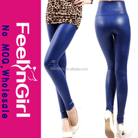 Sexy wholesale fashion ladies wet look blue leather leggings sex photo
