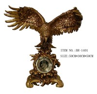 Brass clock resin eagle statue