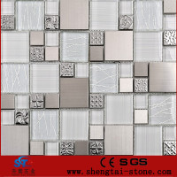 thickness 8 mm iridescent pearl glass mosaic tile