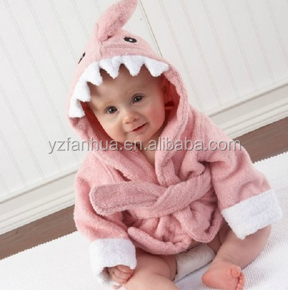 Wholesale Cotton Terry Animal Hooded Baby Bathrobe