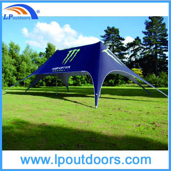 black double peak star tent with side walls