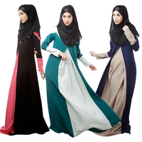 Wholesale 2016 Summer Fashion Women Ethnic Dress Ladies Elegant Long Sleeve Pleated Contrast Color Muslim Clothing