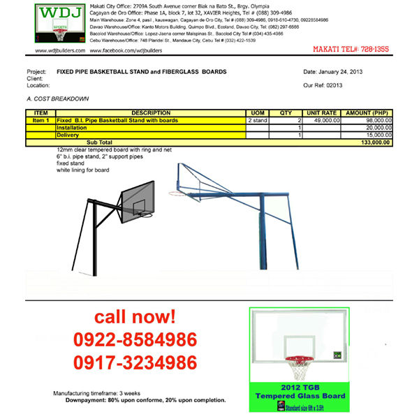 133k Pipe basketball backstop stand