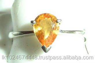 18K White Gold Yellow Sapphire Gemstone Ring with Studded Diamonds