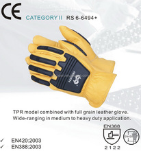 RS SAFETY Full grain leather working glove in rubber protective resistance and Impact gloves
