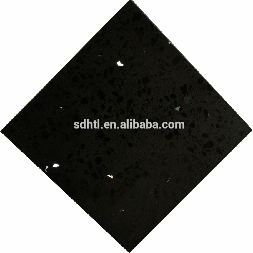 Most Popular Black Quartz With Silver Mirror Fleck, 20mm Black Mirror Quartz Stone
