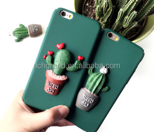 3D Potting Cat and Cactus Prickly Pear Hard Shell Case For iPhone 7 7 Plus 6 6S Plus